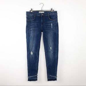 Zara skinny jeans fringe raw hem